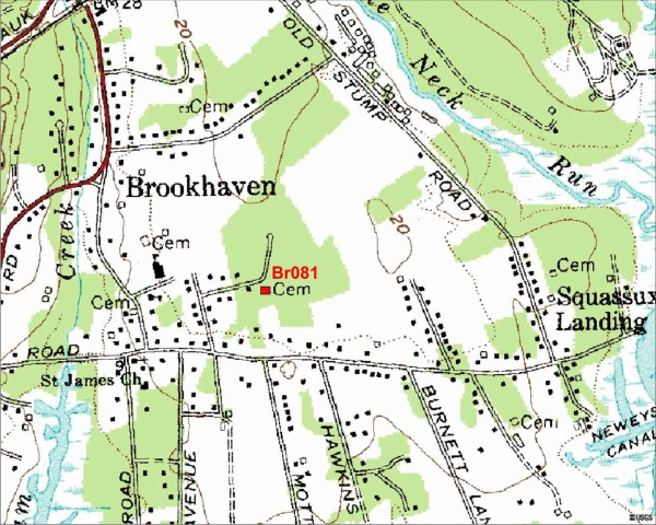 Location Map for the Azel Hawkins Cemetery, Brookhaven, NY