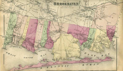 1873 Beers Map of the Southern Portion of the Town of Brookhaven