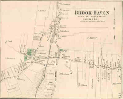 1873 F. W. Beers Map of Brookhaven Hamlet