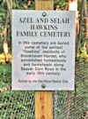 Identification Sign.  Azel Hawkins Cemetery.